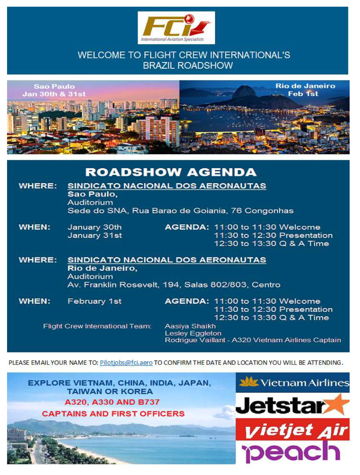 Flight Crew International Roadshows